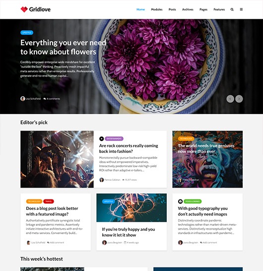 Gridlove Wordpress Grid Theme For Blog News Magazine Sites Meks