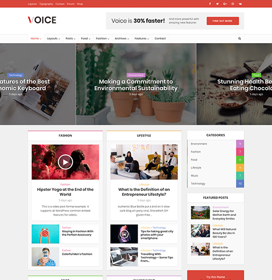 Voice - Material design WordPress theme for news & magazine site | Meks