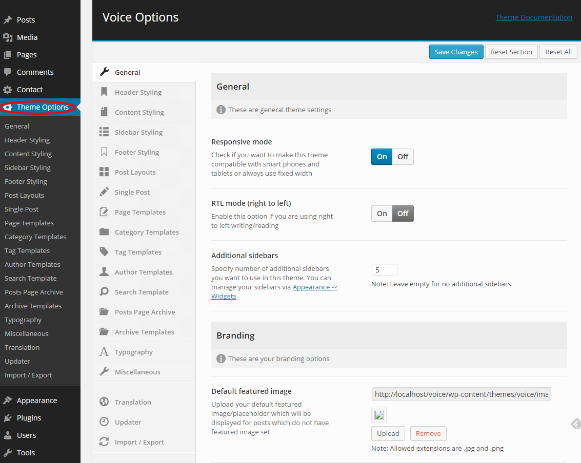 Theme Options - Voice WordPress Theme Documentation | Meks