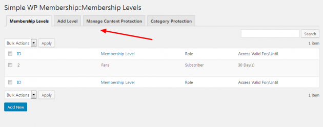 Simple Membership - Member levels