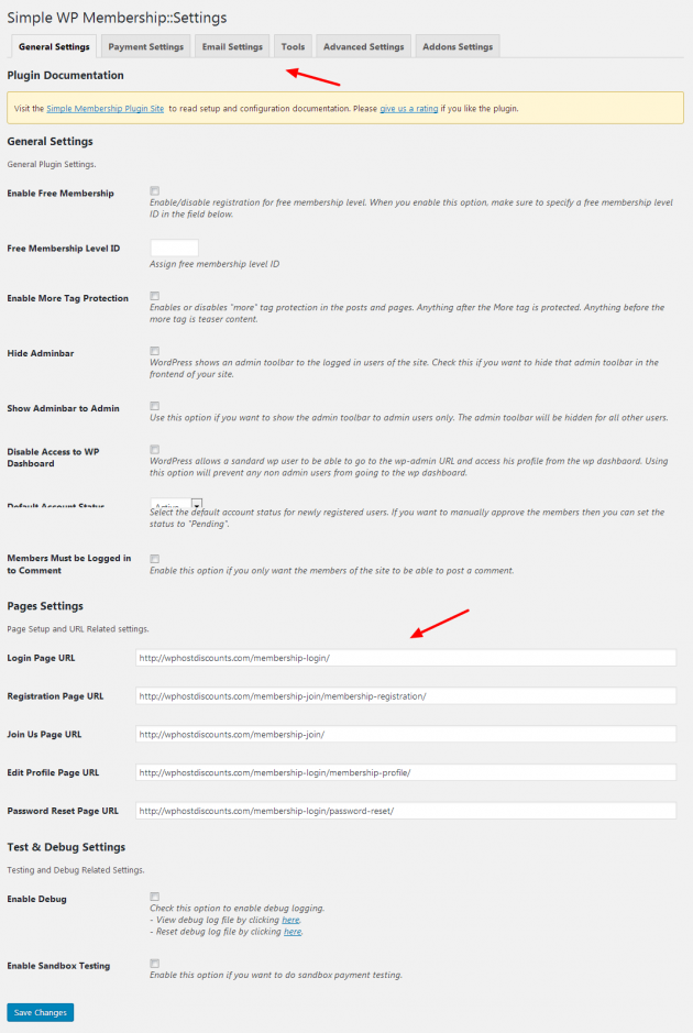 Simple Membership - Settings page