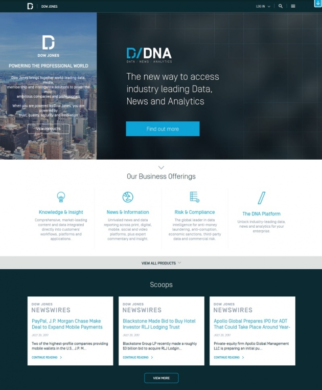 Dow Jones wordpress business websites examples