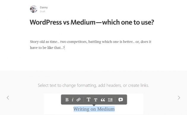 wordpress vs medium article title written in Medium