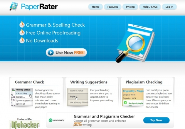 paper rater homepage as text editor tools example