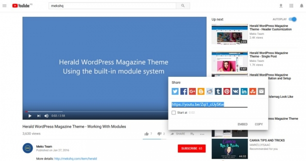 Embed YouTube video in WordPress | Meks