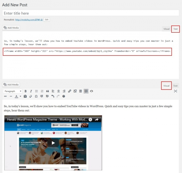 iframe embed youtube video in wordpress example