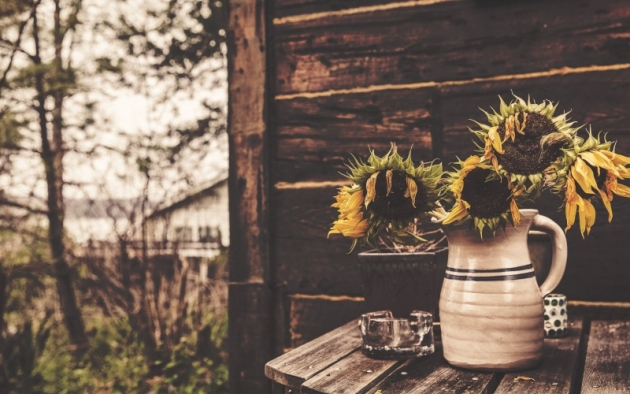 wooden house, a vase and sunflowers free fall wallpapers