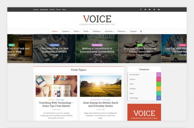 wordpress magazine themes voice screenshot