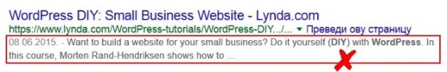meta description in WordPress bad example