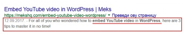 meta description in WordPress keywords example