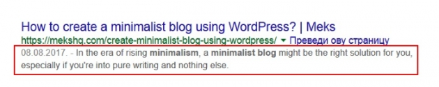 meta description in WordPress search engine example