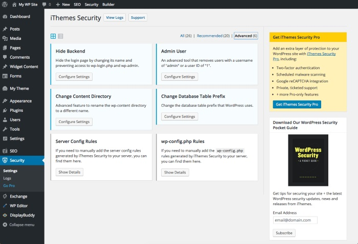 ithemes plugin for wordpress security