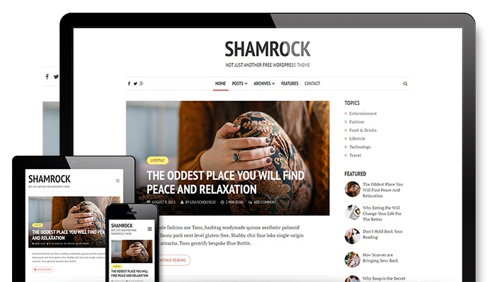 wordpress blogging themes shamrock