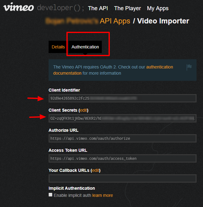 How to generate Vimeo Client ID and Client Secret token key