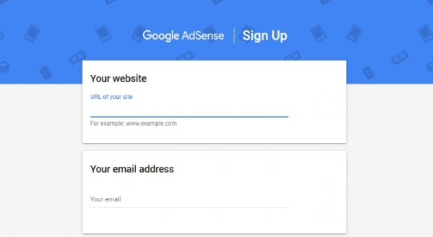 sign up form to add google adsense to wordpress