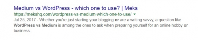 wordpress seo tips for bloggers meta description screenshot