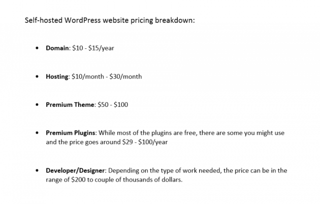 selfhosted wordpress pricing in the squarespace or wordpress comparison