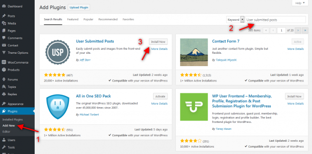 User submitted posts plugin installation