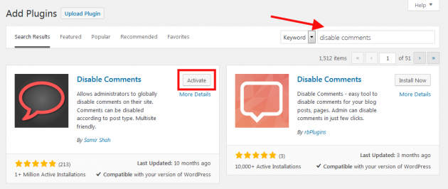 Install Disable Comments for WordPress