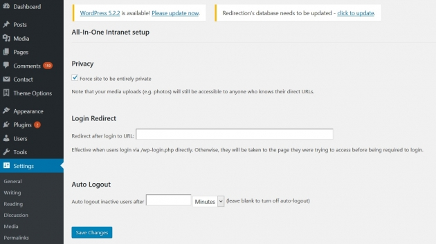 how-to-make-my-wordpress-site-private-all-in-one-intranet-settings-screenshot