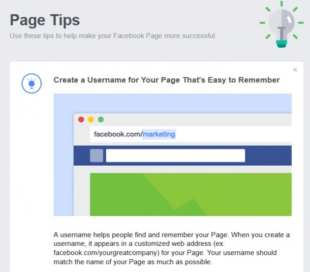facebook page tip screenshot
